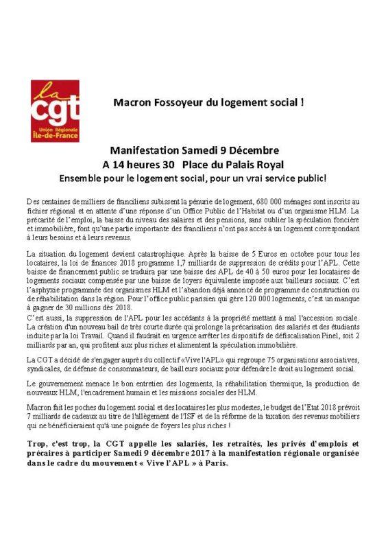 tract URIF CGT sur le logement