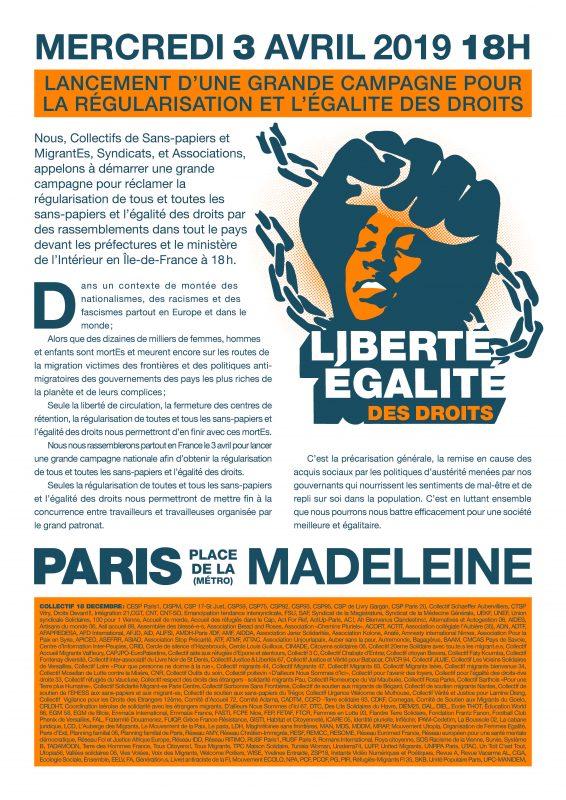 appel pour la régularisation et l'égalité des droits