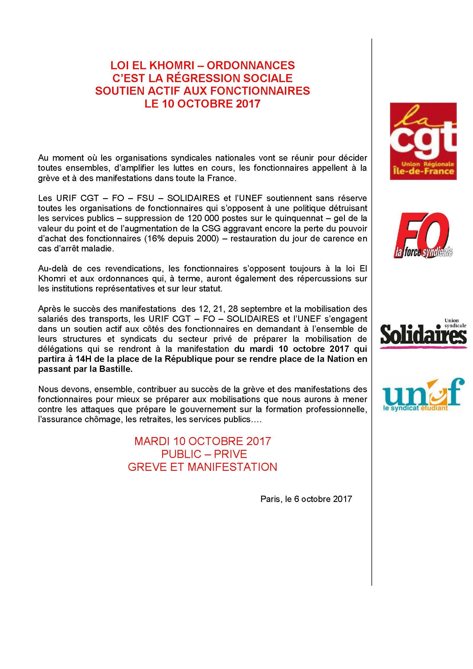 Communiqué unitaire manifestation du 10/10/2017